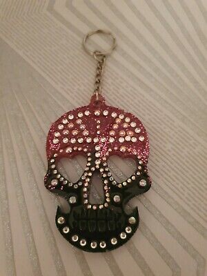 Sugar Skull Keyring. Handmade Resin. New. Pink And Black With Crystals.  • 3.99£