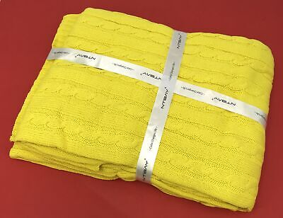 £16.25 • Buy NTBAY Cotton Cable Knit Throw, Super Soft Warm Blanket, 51 X 67  - Lemon Yellow