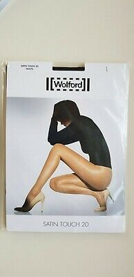 WOLFORD SATIN TOUCH 20 Den TIGHTS Size L Large In ADMIRAL Dark Blue Nearly Black • 17£