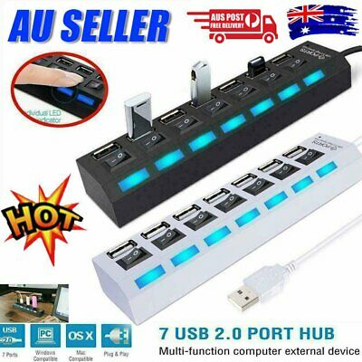 AU11.96 • Buy 7-Port USB 3.0 Multi Charger Hub +High Speed Adapter ON/OFF Switch Laptop/PC XA