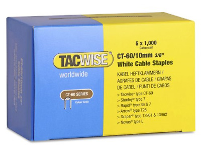 £16.49 • Buy Tacwise CT-60/10mm White Cable Tacker Staples 5000