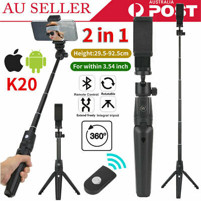 AU18.89 • Buy 2 In 1 Selfie Stick Tripod Stand+Remote Control For Android IOS Mobile Phone AU