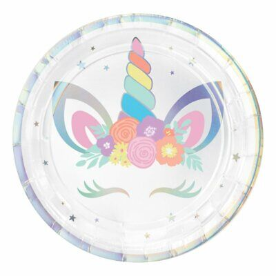 AU8.95 • Buy Party Supplies Birthday Girls Pastel Rainbow Unicorn Party Cake Plates