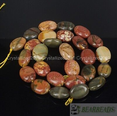 £4.63 • Buy Natural Picasso Jasper Gemstone Oval 11mm X 15mm Crafts Spacer Loose Beads 15