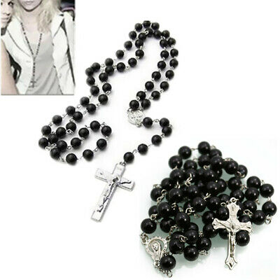 1Pcs Stainless Steel  Fshion Cross  Beads  Necklace Round  Rosary  8mm  Chain • 3.59£