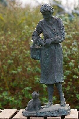 Copper Garden Statue Of Lady With Cat • 245£