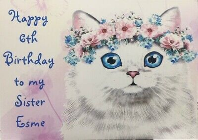 Personalised Home Crafted Birthday Card - Cat In A Flower Garland • 3.25£