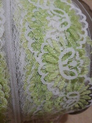 Lovely Nottingham Lace Green & White 90 Metres X 70mm Whole Roll • 15£