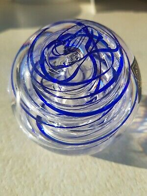 Langham Glass Blue And Clear Spiral Swirl Paperweight -Labelled. • 6.99£