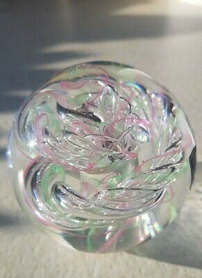 Langham Glass Pink, Green And Clear Spiral Swirl Paperweight -Labelled. • 7.99£