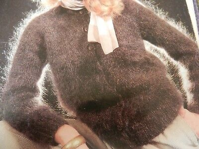 Knitting Pattern Womens Ladies Girls Jacket And Hat 28-38  Mohair • 1.75£