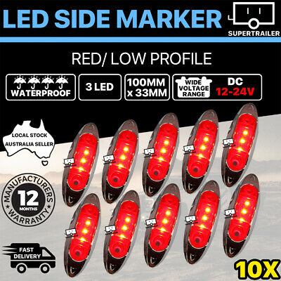 AU39.95 • Buy 10X Red Clearance Light Side Marker Led Trailer Truck LORRY LAMP Chrome 12-24V