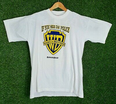 Vtg If You See Da Police Warn A Brother Shirt Funny Humor L White Bahamas 90s • 17.87£
