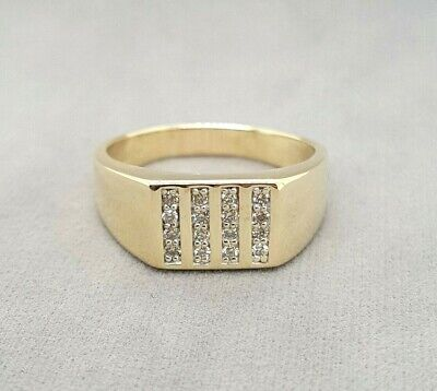 AU595 • Buy Gents Gold & Diamond Signet Ring: 9ct Yellow Gold Preloved Angus & Coote