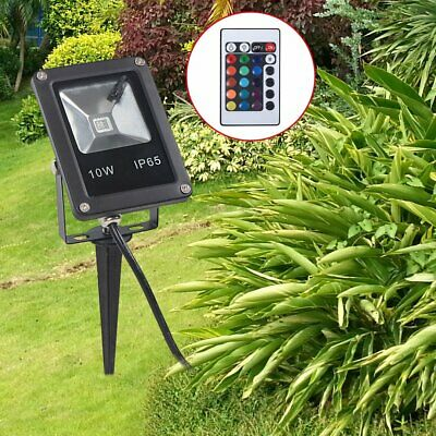 10W RGB Led Garden Landscape Flood Lights Lawn Spotlights Outdoor With 16 Colors • 8.99£