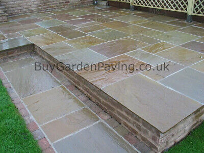 £2.99 • Buy Raj Green Indian Stone Paving Slabs 22mm Mixed Sizes 19m2 Pack Natural Brown