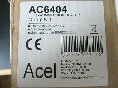 Backer 11  Immersion Heater & Thermostat 3.0/2.76KW 240V Unused New Boxed • 15£