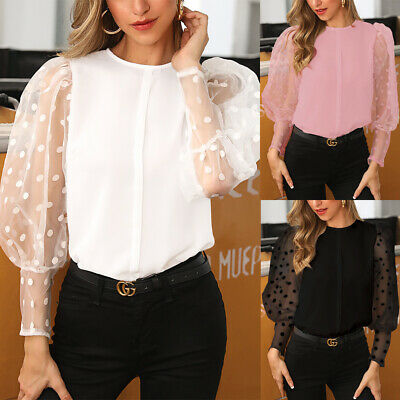 Womens Spring Blouse Polka Dot Lace Mesh Ladies Puff Sleeve Party Tee Shirt Tops • 4.99£