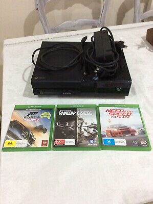 AU160 • Buy Microsoft Black Xbox One Console 1TB + 3 Games + Cords - Excellent Condition