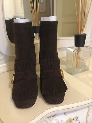 £450 • Buy Gucci Marmont Brown Suede Boots Size Uk 5