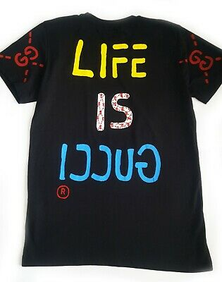 AU369.41 • Buy Men Gucci Black T-shirt Life Is Gucci Size L 100 % Cotton Made In Italy
