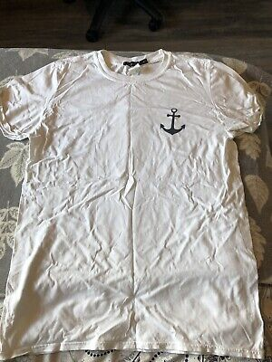 Missguided White Anchor T-Shirt Size Medium • 1.99£