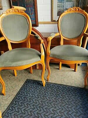 £109 • Buy 2 French Style Wide Seat Carver Chairs, Dining Or Bedroom, Reduced Need Space