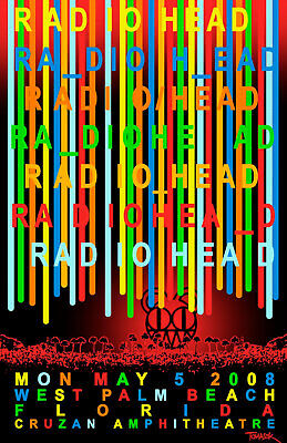 $18.99 • Buy Radiohead 2008 Concert Poster Reprint Gift For Mom, Dad - No Frame