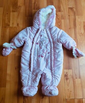 NEW Baby Girl 0-3 Months Pink Snowsuit Pram Suit With Mittens • 2.99£