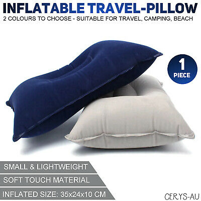 AU7.99 • Buy Inflatable Blow Up Air Rectangle Pillow Head Neck Cushion Travel Camping Beach