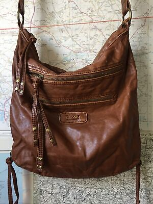 River Island Tan Faux Leather Shoulder Bag Some Wear To Strap • 3.20£