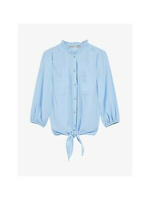 New Oasis Women's Blue Frill Neck Tie Front ¾ Sleeve Blouse Top  Size 6 -16 • 13.99£