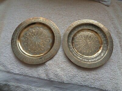 Two Antique Brass Engraved Plates With Symbols On The Back • 10£