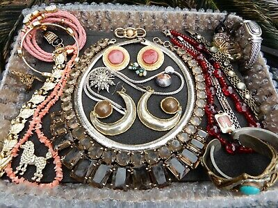 $ CDN45.44 • Buy Vintage Mod Jewelry Lot Rhinestones Earrings Brooches Necklaces Signed 10 Pounds