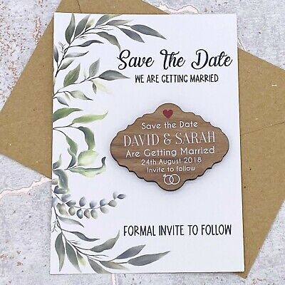 AU34.11 • Buy Personalised Walnut Rustic Save The Date Leaf Fridge Magnet Wedding Card Invite.