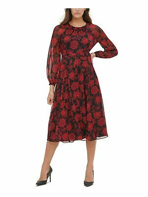 AU33.57 • Buy TOMMY HILFIGER Womens Red Long Sleeve Fit + Flare Evening Dress 12