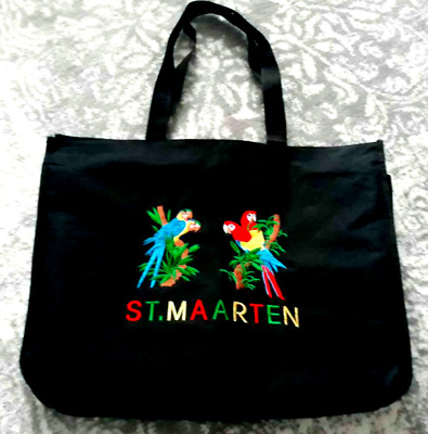 St Maarten XL Canvas Tote Travel Bag W/ Zipper Parrot Embroidery Front 16 X20  • 5.71£