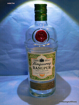 Tanqueray Rangpur Lime Gin Bottle EMPTY 750ml W/ Lid Clear Green Tinted Glass Bo • 15.38£