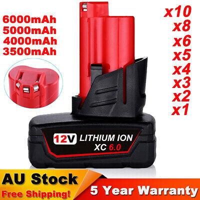 AU26.99 • Buy 6.0Ah For Milwaukee M12 Lithium Cordless 12V Battery Pack 48-11-2440 48-11-2412