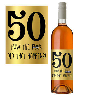 £2.99 • Buy Funny 50th Birthday 50 Today Wine Bottle Label Gift Perfect For Men & Women Gold