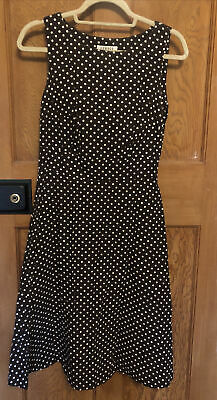 George Vintage Style Fit And Flare Brown And White Polka Dot Dress - Size 10 • 2£