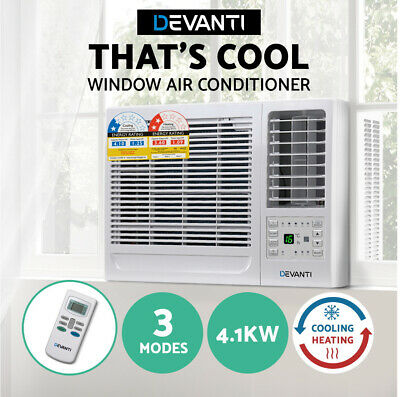 AU566.47 • Buy Devanti 4.1kW Window Air Conditioner Reverse Cycle Wall Box Cooler Heater White