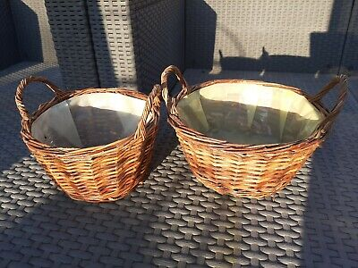 £10 • Buy Pair Lined Wicker Baskets Gift Baskets Empty Easter Egg Hunt Baskets