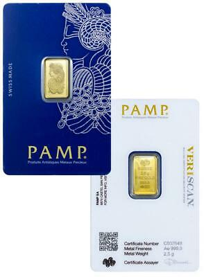 £158 • Buy 2.5g PAMP Fortuna Minted Gold Bar | Fast Delivery | Certificate | Velvet Pouch