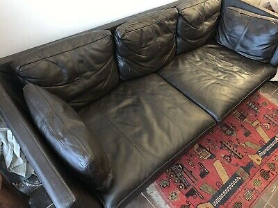 IKEA Stockholm Dark Brown 3 Seater Leather Sofa Excellent Condition • 225£