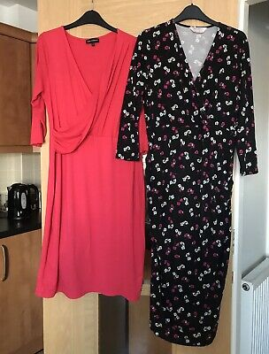 Next Maternity Size 14 Bundle Of 2 Long Sleeved Stretchy Fabric Dresses • 6£