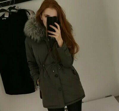 Light Grey Winter Parka Big Fur Hoddie Button Detailed Jacket Coat XS RRP £180 • 15£