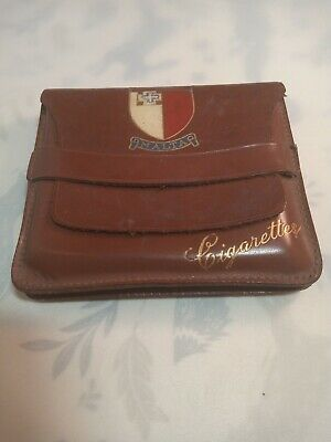 Vintage Leather Cigarette Case With Shield Of MALTA • 2.99£
