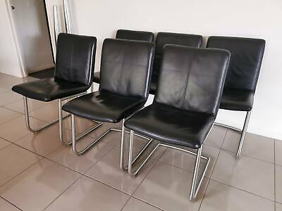 AU1000 • Buy Set Of 6 Black Leather Dining Chairs