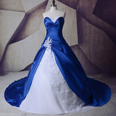 $ CDN101.27 • Buy Vintage Royal Blue&White Wedding Dresses Sweetheart Lace Up Back Train Gown